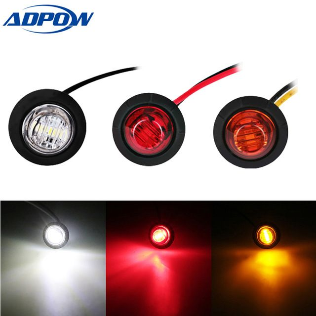 Trailer Truck Led Side Marker Turn Signal Indicator Lights Red Amber Rear Side Marker Lamp Bus Car External Lights 1 Indicator Lights External Lighting Markers