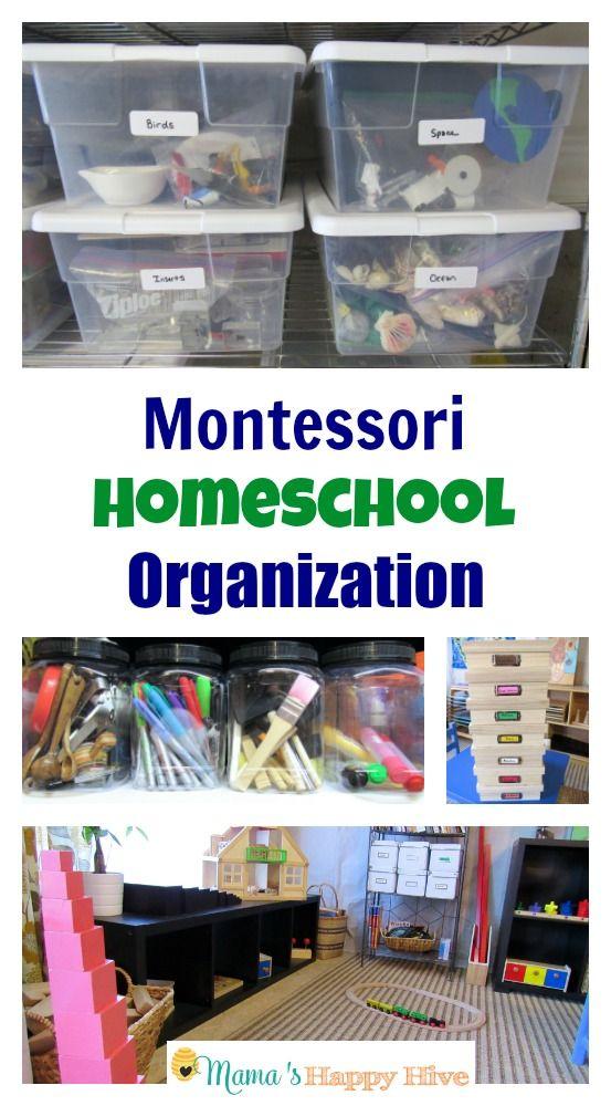 Montessori Homeschool Organization ideas for your new homeschool year! Orgnanize homeschool materials for simple activities. www.mamashappyhive.com