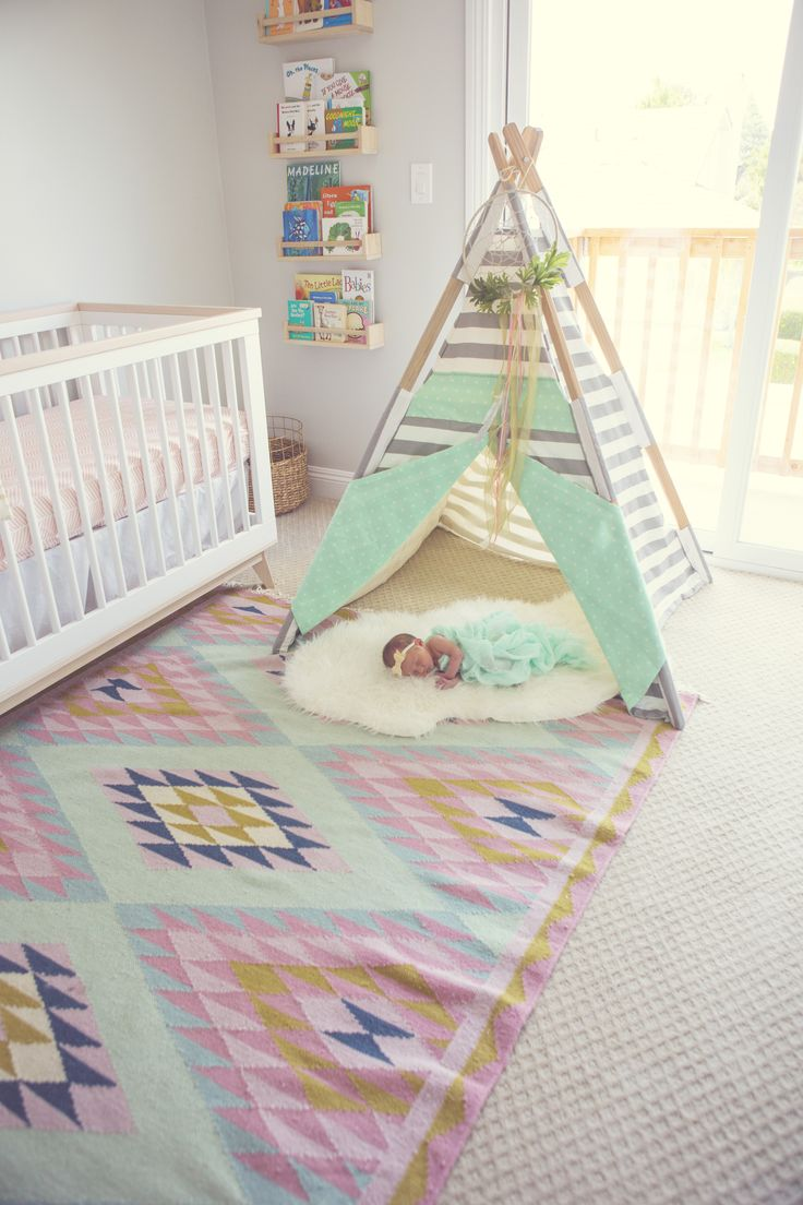 Project Nursery - Teepee in Boho Nursery for Baby Girl