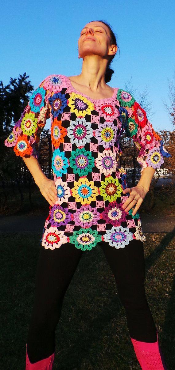 Crochet hippie retro vintage style boho gypsy floral by GlamCro