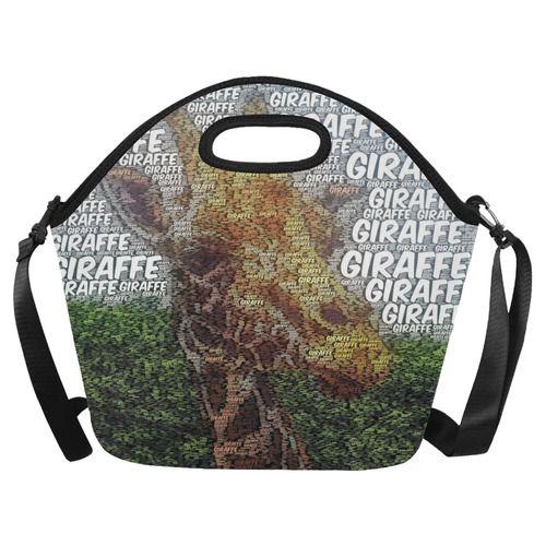 WordArt Giraffe by FeelGood Neoprene Lunch Bag/Large (Model 1669)