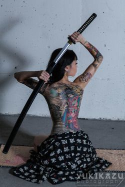 art beautiful Awesome tattoos tattoo ink badass sword tat ninja katana Asian Girls girls with tattoos swords Yakuza ink art Cold Steel