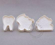 Формы для выпечки 1 компл. молочный зуб коляска резака печенья помадка инструмент пластиковые торт на день рождения стоматолог поршень пресс печенье(China (Mainland))