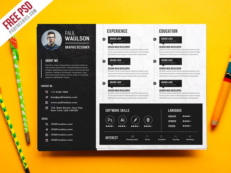 Download Free Creative Horizontal CV Resume Template PSD. This Creative Horizontal CV Resume Template PSD that help you make a lasting impression when applying for your dream career. Professionally designed, This Landscape Resume has unique approach to boring resume, creating modern, creative and easy to use templates just for you.  This Creative Horizontal CV Resume Template PSD is A4 Size and is ready for print, because it's in CMYK at 300 dpi.