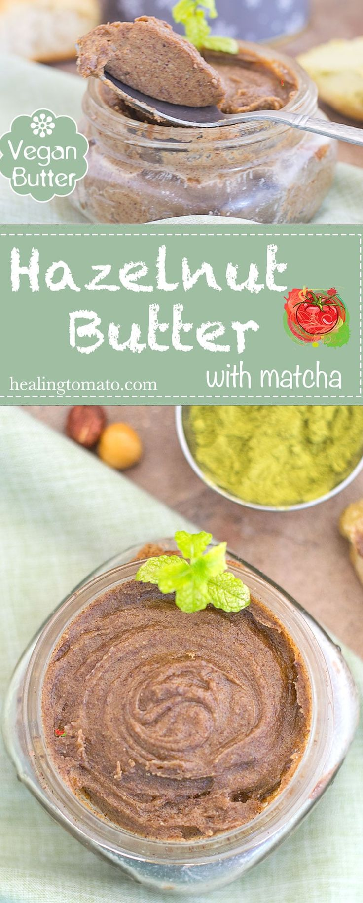 This matcha hazelnut butter is so easy to make and it is the perfect brunch or breakfast recipe.  The hazelnut butter takes only 15 minutes to make in the NutraMilk Machine and its delicious. #ad #thenutramilk @thenutramilk #PMedia