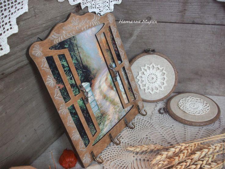 Купить Ключница- вешалка Окно подарок на новоселье - коричневый, вешалка, вешалка для ключей, вешалка в прихожую