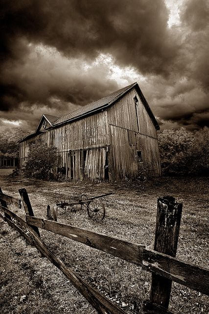 'A Time Past' by Phil KochBlack N White, Farms, Beautiful, Black White, Storms Clouds, Wizards Of Oz, Art Pictures Of Storms, Abandoned, Old Barns