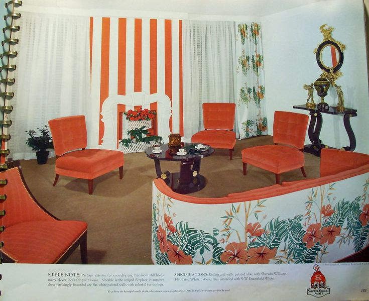 This Book Is From 1941 And Shows Exteriors Interiors Of Homes With Attractive Color Schemes A Very Bold Design