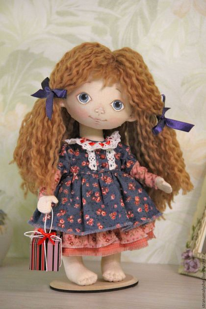 Buy or order Little doll Manya in online shops on My Livemaster. A doll with a gift, a small, head, arms and legs movable. This doll can stand. Barefoot doll, foot size 2'. Her dress can be removed for cleaning. The hair is made of yarn 50% wool + акрил50%, you can model your hair, apply the hair comb is not recommended. Face painted with acrylic paints for fabric, without the use of powders, pastels of the same dry and crumbling paint.