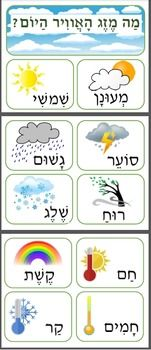 """This poster is a visual resource to teach children Hebrew. The poster contains 3 full sized pages and 10 large images and words to describe the weather. At the top, in Hebrew, it reads """"What is the weather today?"""". In my own classroom, I have laminated the 3 pages and created a wall poster."""