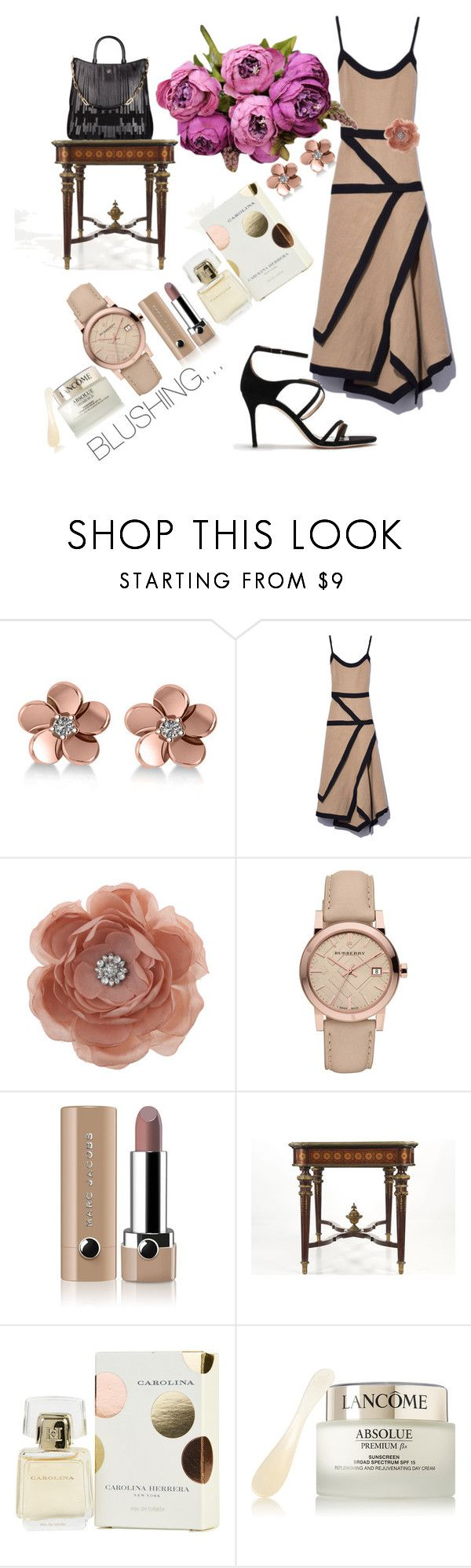 """BLUSHING"" by tinagarrison ❤ liked on Polyvore featuring Allurez, J.W. Anderson, Miss Selfridge, Burberry, Marc Jacobs, CH Carolina Herrera, Carolina Herrera and Lancôme"