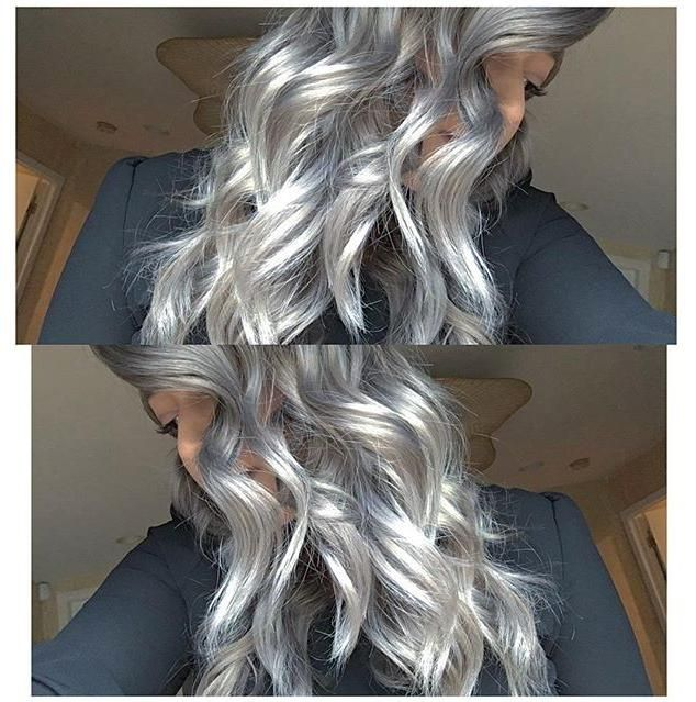Love this shiny silver! Paige Elaine Styles mixed 1 1/2 oz #KenraColor 7SM with a dot of Violet Booster for the top and mid-shaft. She used 1/2oz 8SM with a dot of Violet Booster for the rest and pulled everything through. #MetallicObsession