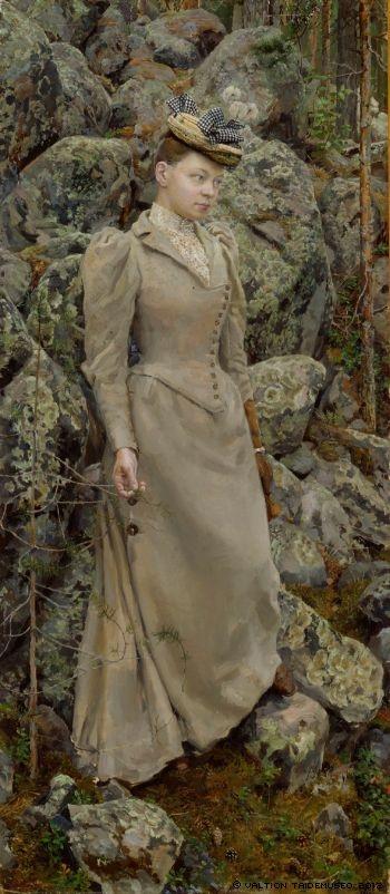 """Mary Gallén in a Rocky Landscape at Vehmersalmi"" (1893) by Akseli Gallen-Kallela"
