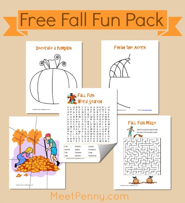 Free Printable Fall Fun Pack (Linky) | Meet Penny