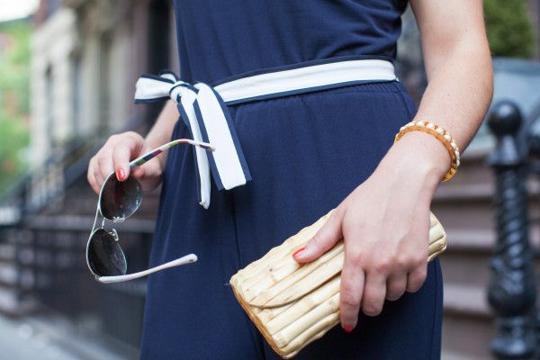 Nautical Jumpsuit + Bamboo Clutch // @bowsandsequins