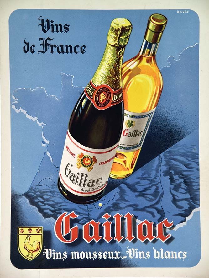Gaillac Vins Moussant - Vins Blanc - Vin de FranceGaillac Vins Moussant - Vins Blanc - Vin de FranceHavas Imp. vers 1950 Affiche entoilée/ Vintage Poster on Linnen T.B.E. A - déchirures restaurées / tears restored 40 x 30#art #auction #poster #affiche #print #paper #papier