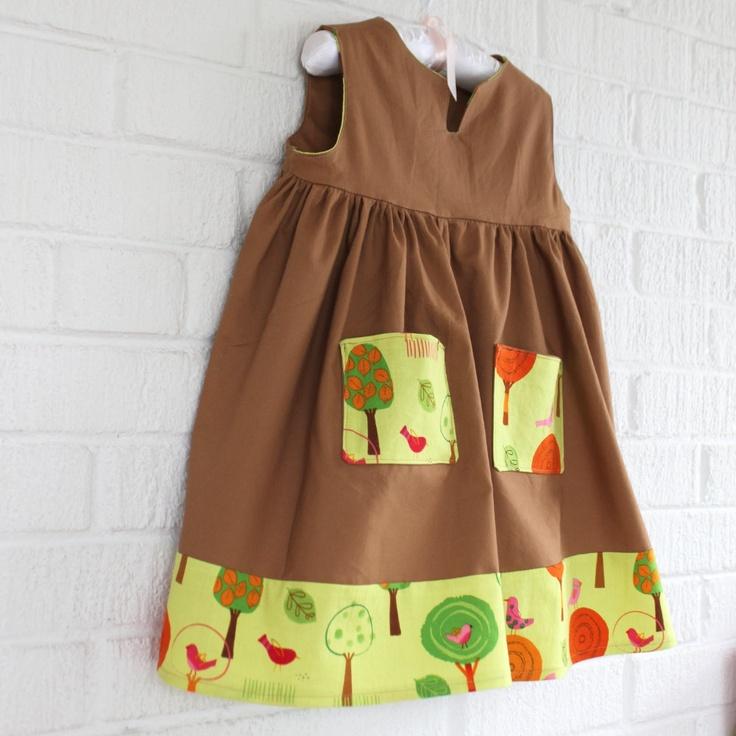 Girl's V-Neck Dress With Pockets. $35.00, via Etsy. From Little Ra's, #DEAF2012 artist