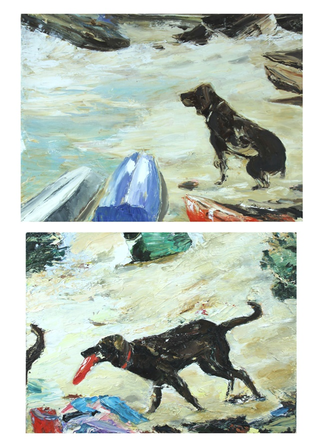 Viola Dominello. forty Baskets Beach- (dogs and dinghys) oil on canvas 2013