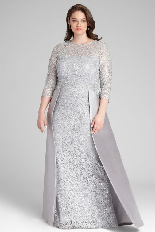 Lace Gown with Gazar Skirt Overlay | Teri Jon | Mother of ...