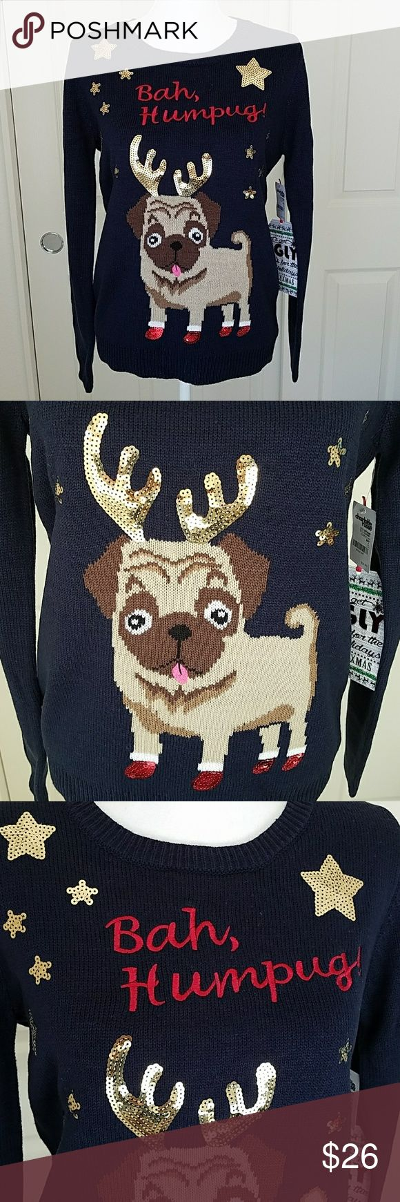 Bah, Humpug! Ugly Christmas Sweater Bah, Humpug! Ugly Christmas Sweater by Almost Famous x Charlotte Russe. Super cute pug Christmas Sweater with all sequins intact. New with tags. The tag says size large, however it fits my dress form perfectly. My dress form is size 6. I'm estimating that it may be a juniors large. Navy blue pull on sweater. Almost Famous Sweaters Crew & Scoop Necks
