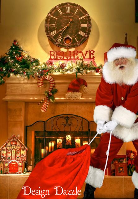 Thrill your kids this Christmas with a photo of Santa in YOUR house! How will your kids doubt Santa when they see a picture of him in their very own home delivering presents?!! This is such a cool idea and very easy to do. Design Dazzle #Santaideas #Santa