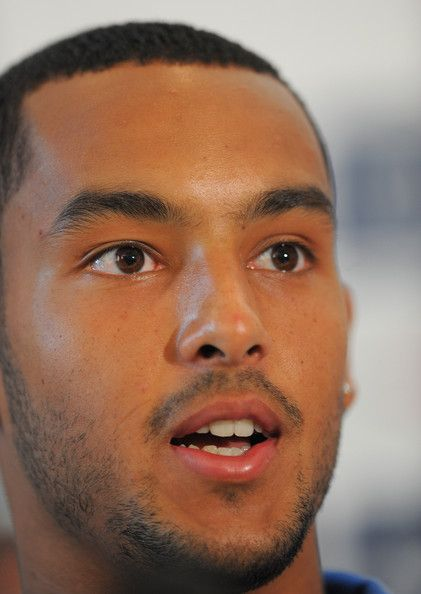 Theo Walcott talks to the media during the England press conference at London Colney on August 31, 2010 in St Albans, England.