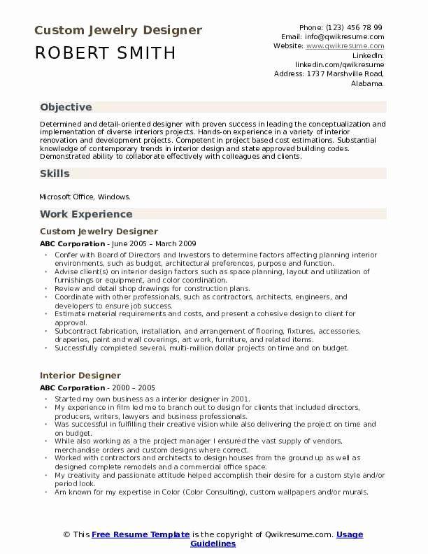 Interior Design Resume Template Inspirational Interior Designer Resume Samples Sales Resume Examples Resume Objective Resume Examples