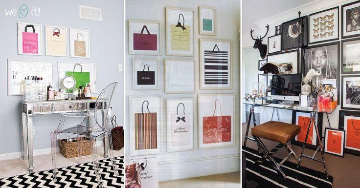 """PORQUE GOSTÁMOS :)....PODE FAZER... SACOS EMOLDURADOS … Todos temos sacos de compras que adoramos e que não conseguimos deitar fora, mas muitas vezes não sabemos o que fazer com eles. Então porque não exibir essas belezas? Emoldurá-los é mais uma ideia super interessante e divertida para ter """"arte"""" nas paredes da sua casa! :)"""