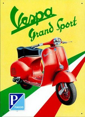 Propaganda de época. A Vespa é um ícone italiano