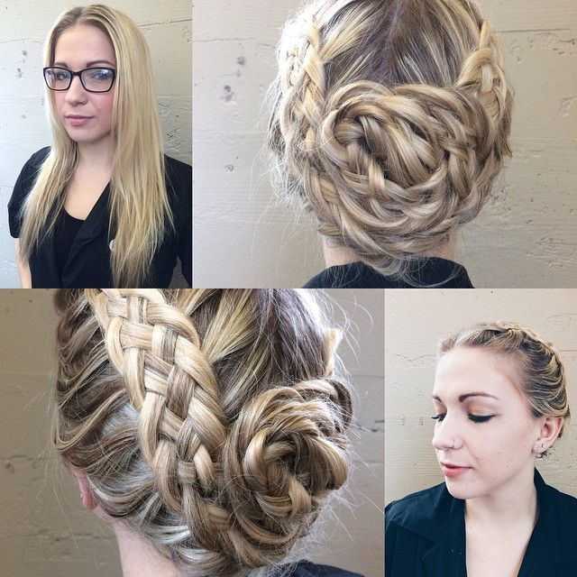 Before and after: a five strand braided updo and a little bronze-inspired makeup on Callyn!