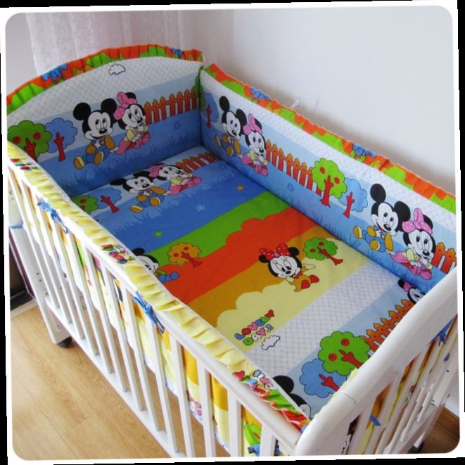 42.80$  Watch here - http://alil6z.worldwells.pw/go.php?t=32337892001 - Promotion! 6PCS Mickey Mouse baby cot sets baby bed bumper free shipping (bumpers+sheet+pillow cover)
