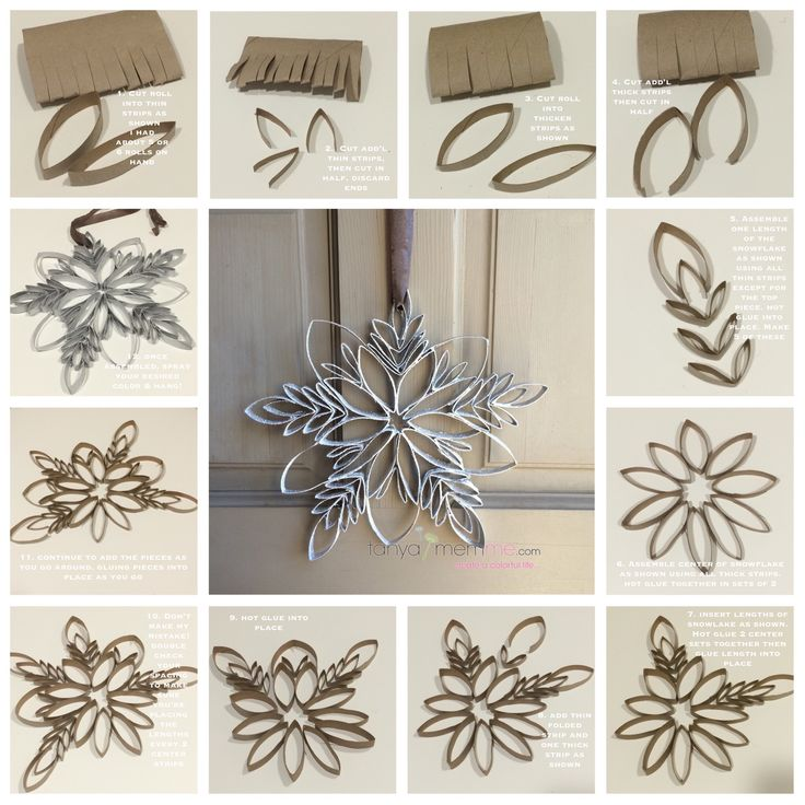 Make a snowflake from toilet paper rolls so easy and only for Snowflake out of toilet paper rolls