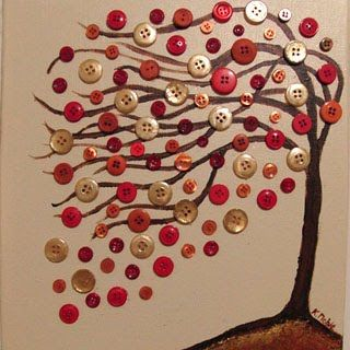 Original Perfect Day abstract tree with buttons acrylic painting on 11x14 canvas…