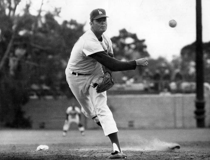 """Don Drysdale   Pirates shortstop Dick Groat once claimed """"Batting against Don Drysdale is the same as making a date with a dentist"""". Drysdale was a tough pitcher, who along with Sandy Koufax, formed the most dominant pitching tandem of the 1960s. The hard throwing right hander had a reputation for owning the plate."""