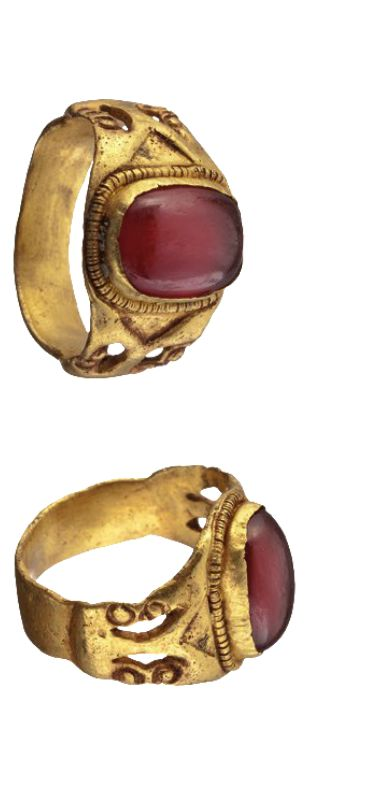 A Byzantine gold ring with a red stone, ca. 5th-6th century A.D. (HH)