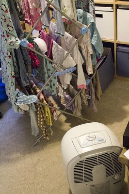 Dehumidifier with indoor clothes drying-genius, and makes it quicker.