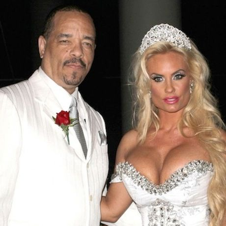 """Rapper and actor Ice-T and swimsuit model Nichole """"Coco Marie"""" Austin have been married since December 31, 2001.  I believe this is a photo of them renewing their vows in celebration of their tenth wedding anniversary in 2011."""