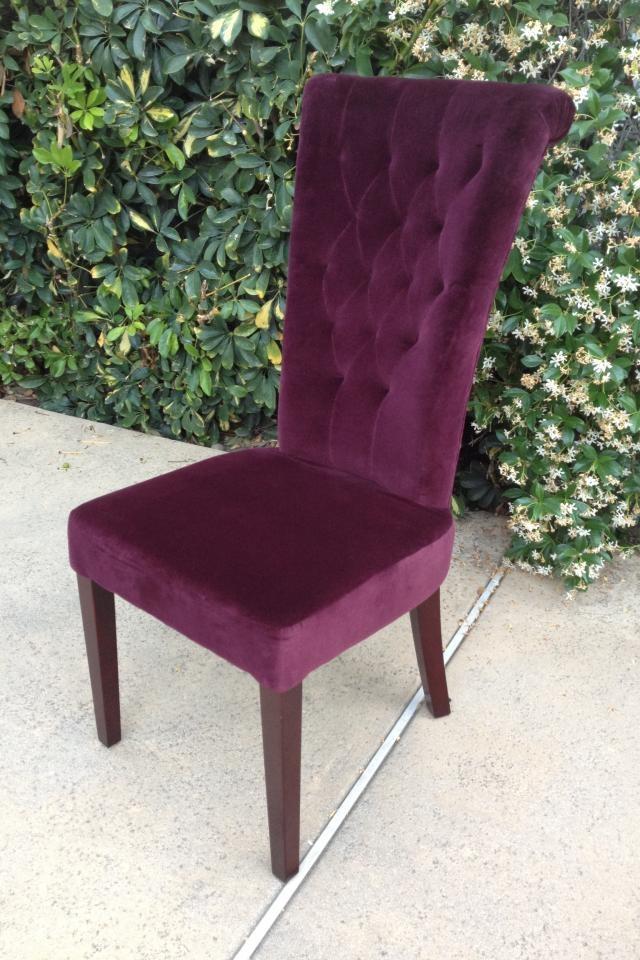 $100 - Purple Velvet Tall Back Chair