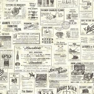 Chesapeake 56.4 sq. ft. Adamstown Cream Vintage Newspaper Wallpaper CTR64271 at The Home Depot - Mobile