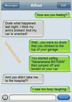 Funny Text About Drunk Friend vs. Laughing