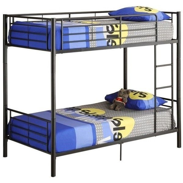 Walker Edison Sunset Twin over Twin Metal Bunk Bed ($297) ❤ liked on Polyvore featuring home, children's room, children's furniture and black