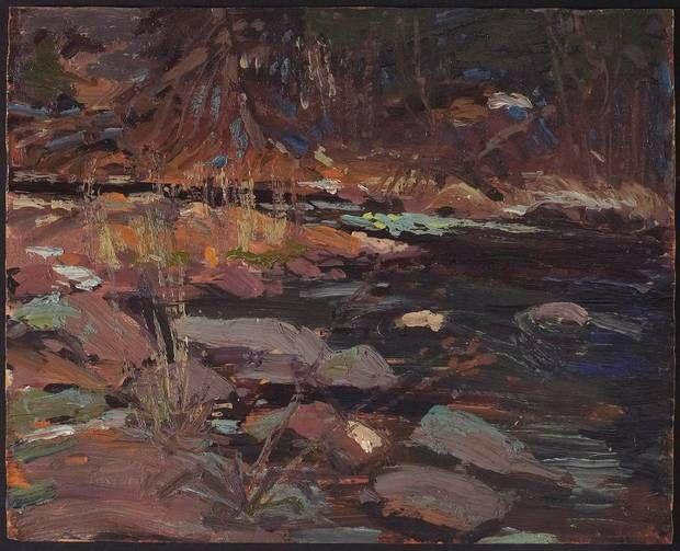 Tom Thomson (1877-1917) Canadian Potters Creek, Canoe Lake 1916 c oil on wood panel 21.4 x 26.7 CM (Sean Weaver/Gift from the Estate of Roy Fraser Elliott, 2005 Copyright Art Gallery of Ontario)