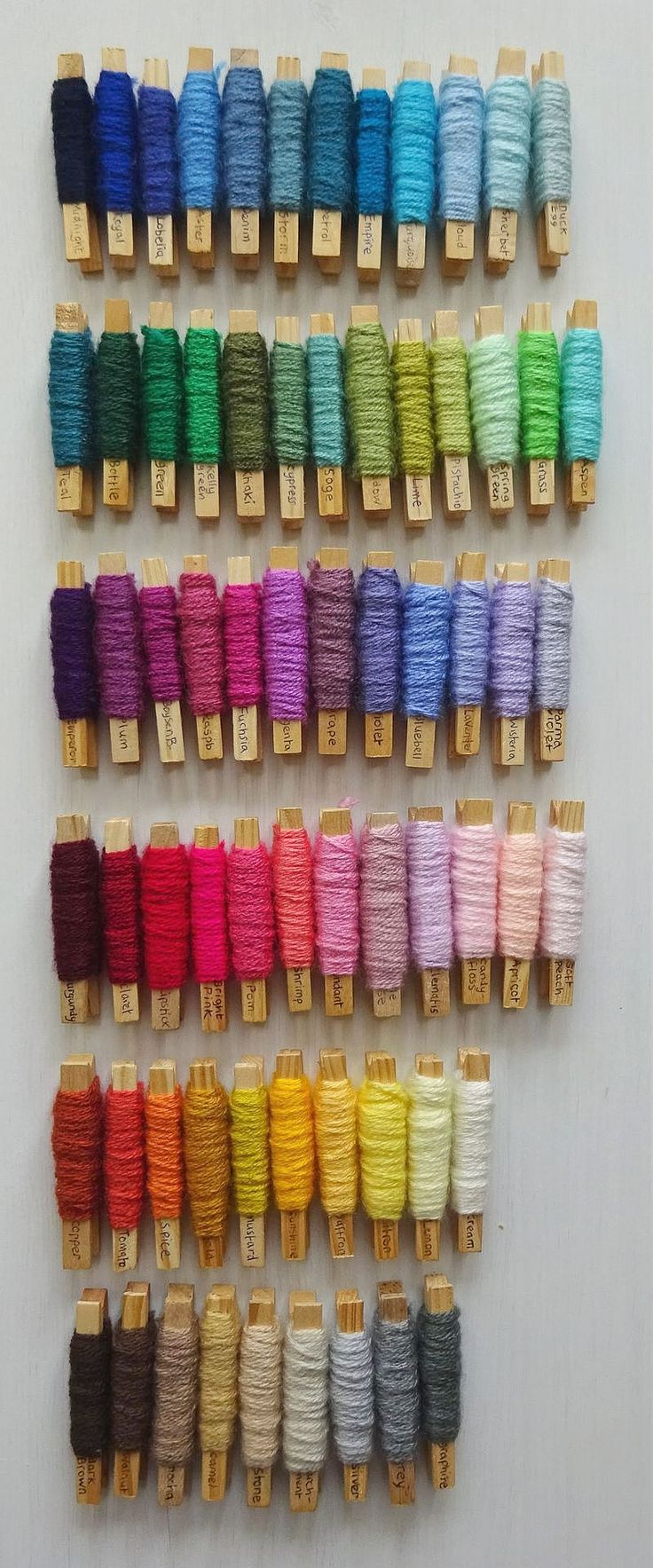 Blanket planning with yarn pegs - Stylecraft Special DK yarn colors ~ Lucy of Attic24