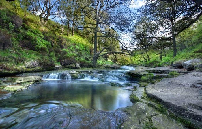 Обои на рабочий стол Пейзажи:Peak district national park, England, Национальный парк Пик-Дистрикт, Англия, Река, Деревья, Склоны - скачать бесплатно. | Обои-на-стол.com
