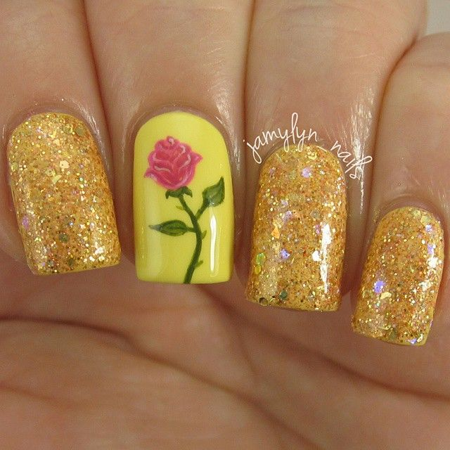 Gold Shimmer Nails With Rose. Inspired by Belle From Beauty and The Beast.
