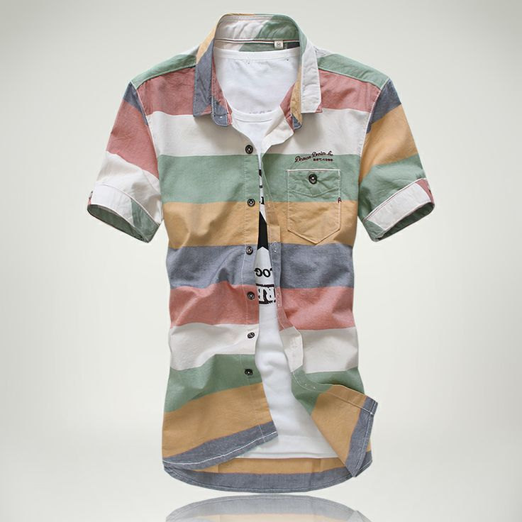 Free Shipping 2014 summer models hit the color striped shirt personalized men's short-sleeved shirt striped shirt