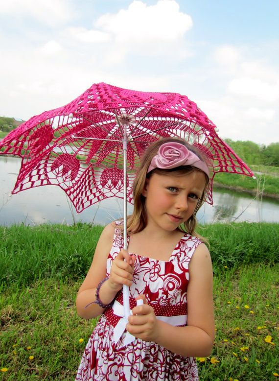 30 Pink Lace Crochet  UMBRELLA PARASOL Easter Wedding by kolus79, $50.00