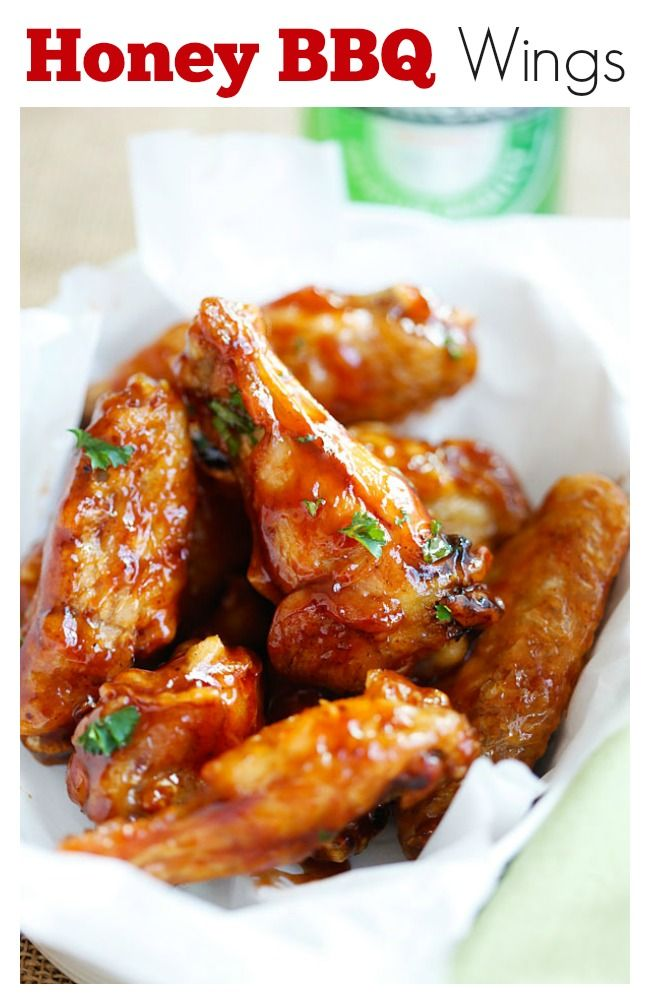 Honey BBQ Chicken Wings – 3 ingredients, no deep-frying, the easiest and crispiest chicken wings ever with delicious and sticky sweet honey bbq sauce | rasamalaysia.com