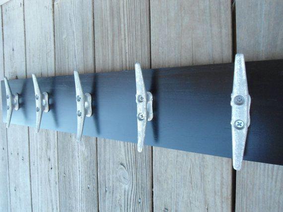 5 boat cleats wall hooks coat rack nautical decor beach house cabin fishing sailing mancave gift for him