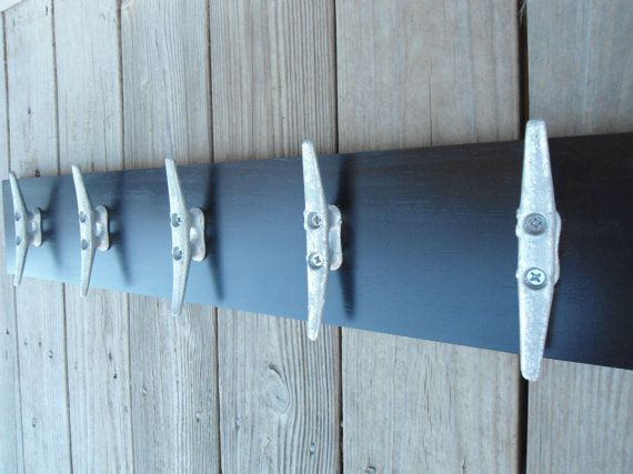 5 boat cleats wall hooks coat rack nautical decor beach house cabin fishing sailing mancave gift for him